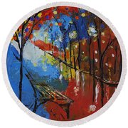 Park Bench Round Beach Towel by Gary Smith