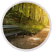 Round Beach Towel featuring the photograph Park Bench In Fall by Chevy Fleet