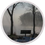Park Bench In Morning Fog Round Beach Towel