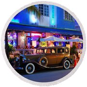 Round Beach Towel featuring the photograph Park Central Miami Beach by James Kirkikis
