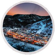Park City Winter Sunset Round Beach Towel