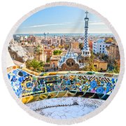 Park Guell Barcelona Round Beach Towel by Luciano Mortula