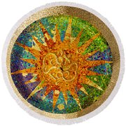 park Guell, Barcelona, Spain Round Beach Towel