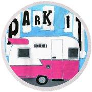 Park It- Pink Round Beach Towel