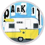 Park It-yellow Round Beach Towel