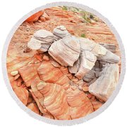 Round Beach Towel featuring the photograph Park Road Sandstone In Valley Of Fire by Ray Mathis