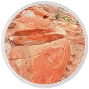 Round Beach Towel featuring the photograph Park Road View In Valley Of Fire by Ray Mathis