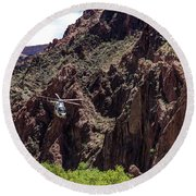 Park Service Helicopter In The Grand Canyon  Round Beach Towel