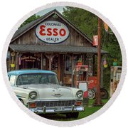 Parked At Ferland Motor Company Round Beach Towel