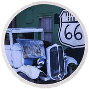 Parked Blue Truck Round Beach Towel by Garry Gay