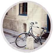 Parked In Paris - Bicycle Photography Round Beach Towel