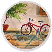 Parked In The Courtyard Round Beach Towel