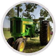 Parked John Deere 2 Round Beach Towel