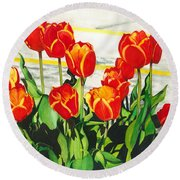 Parking Lot Tulips Round Beach Towel