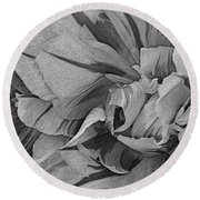 Parrot Tulips In Black And White Round Beach Towel by Nadalyn Larsen