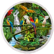 Parrots In Paradise Round Beach Towel
