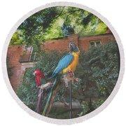 Parrots In The Garden Round Beach Towel