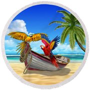 Parrots Of The Caribbean Round Beach Towel