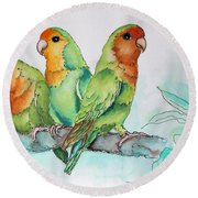 Parrots Trio Round Beach Towel by Inese Poga