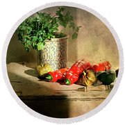 Round Beach Towel featuring the photograph Parsley And Peppers by Diana Angstadt