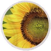 Part Of A Sunflower Round Beach Towel