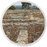 Part Of The Ancient Minoan City Of Phaistos In Crete Round Beach Towel