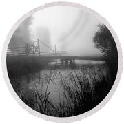 Part Of The Snake River Passes Under A Wooden Bridge Round Beach Towel by Wernher Krutein