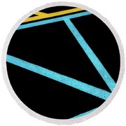 Round Beach Towel featuring the photograph Partallels And Triangles In Traffic Lines Scene by Gary Slawsky