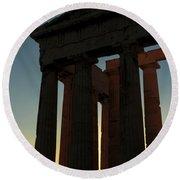 Parthenon At Sunset Round Beach Towel