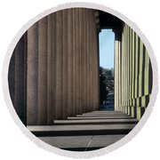 Parthenon Shadow Tunnel Round Beach Towel