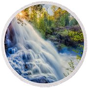 Partridge Falls In Late Afternoon Round Beach Towel