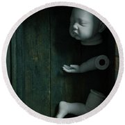 Parts Of A Plastic Doll In A Wooden Box Round Beach Towel by Lee Avison