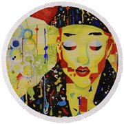Party Girl Round Beach Towel by Cynthia Powell