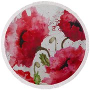 Party Poppies Round Beach Towel