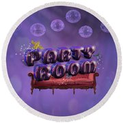 Party Room Round Beach Towel by La Reve Design
