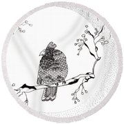 Party Time In Birdville Round Beach Towel