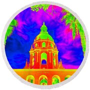 Surreal City Hall Round Beach Towel
