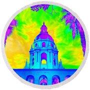 Pasadena City Hall In Vibrant Color 2 Round Beach Towel by Karen J Shine