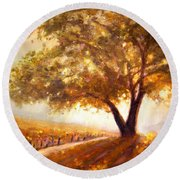 Round Beach Towel featuring the painting Paso Robles Golden Oak by Michael Rock