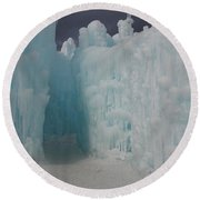 Passageway In The Ice Castle Round Beach Towel