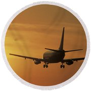 Passenger Plane Taking Off Lax Airport Round Beach Towel