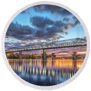 Passing Clouds Above Chattanooga Pano Round Beach Towel