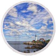 Passing Clouds At Portland Head Light Round Beach Towel