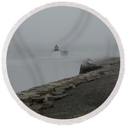 Round Beach Towel featuring the photograph Passing In The Fog by Jeff Folger
