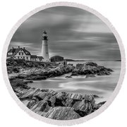 Passing Storm At Portland Head Light Round Beach Towel
