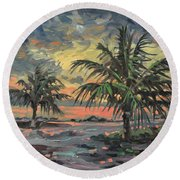 Passing Storm Round Beach Towel by Donald Maier