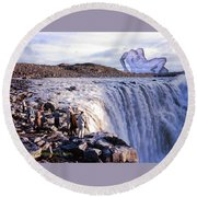 Passion At The Falls Round Beach Towel