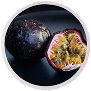Passion Fruit On Black Plate Round Beach Towel