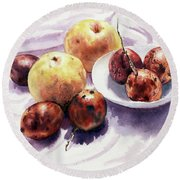 Passion Fruits And Pears 2 Round Beach Towel by Joey Agbayani