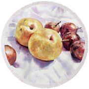 Passion Fruits And Pears Round Beach Towel by Joey Agbayani